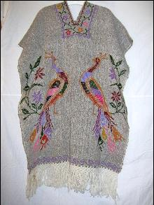 Vintage Mexican Poncho Hand Woven Oaxaca