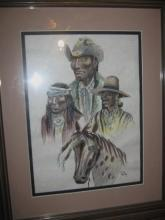Apache Indian Art Three Cowboys/ Horse