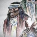 Art IndianThree Apache Cowboys Horse