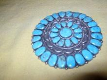 Navajo Indian Old Pawn Turquoise Brooch