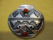 Hopi Indian Brooch/pendant Sterling Overlay