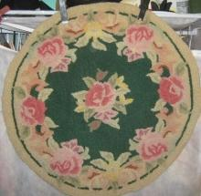 Rug Hand Hooked Country Flowers On Linen