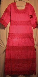 Mexican Fiesta Dress Red Cotton Lace