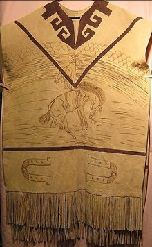 Mexican Poncho Horse Picture On Leather