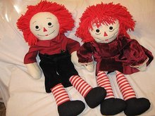 Raggedy Ann/Andy Cloth Dolls Antique