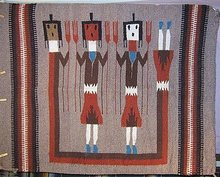 Navajo Indian Yei Wool Rug