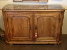 19th C. Louis XVI Style Walnut Buffet with Marble top