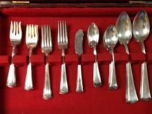 Alvin Silver Plate Set of Flatware with Chest