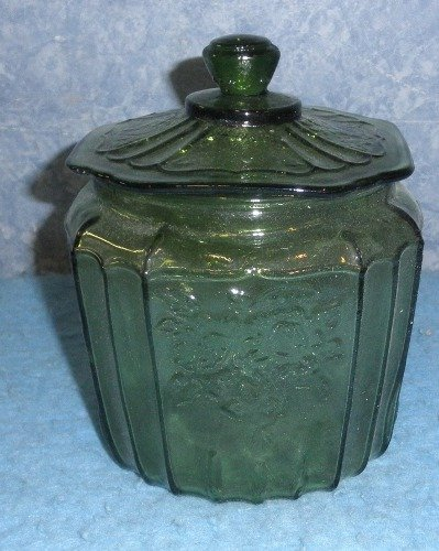Dark Green Cookie Jar w/lid   Y906