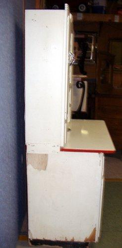 Vintage Antique Hoosier Cabinet -White Paint