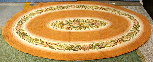 Hooked Rug - Oval - Salmon Color