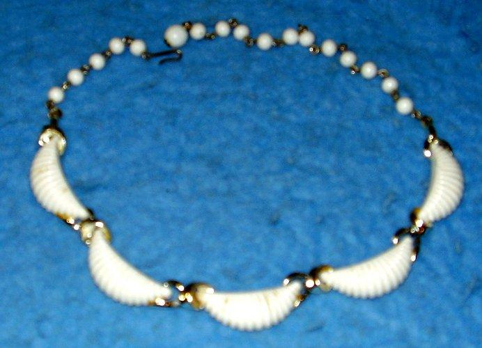 Necklace - White and Silver