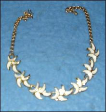 Necklace - White with Gold