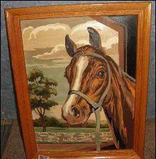 Picture Frame with Paint by Number Horse Picture