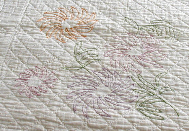 Vintage Quilt White Quilting with Embroidered Flowers