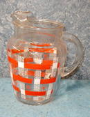 Pitcher - Glass  Colors of Coral & White