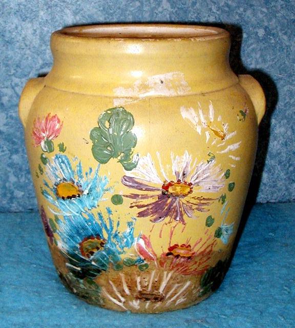 cookie Jar   Yellow w/Flowers No/Lid  B2479