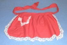 B4358  Antique - Vintage Red Apron with Lace