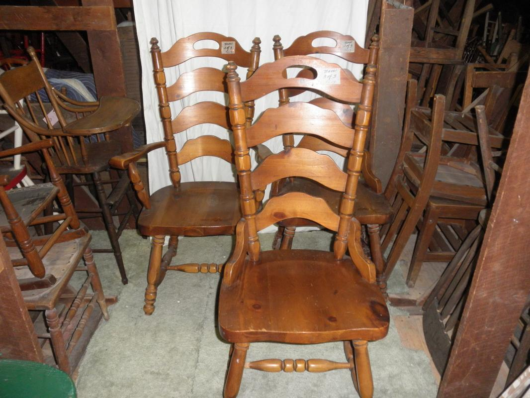 B2441  Vintage/Antique  Set of 3 Pine High Back Chairs