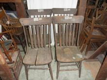 B2580  Vintage/Antique set of (4) Arrow Back Chairs