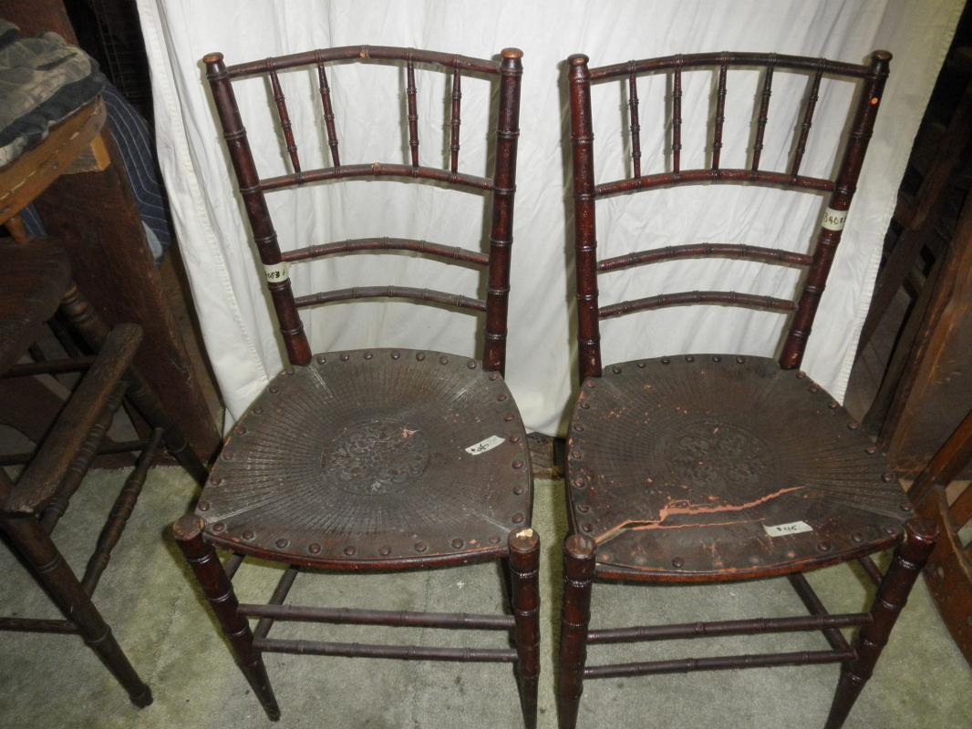 B4083  Vintage/Antique  set of (2) Chairs w Fiber Seats