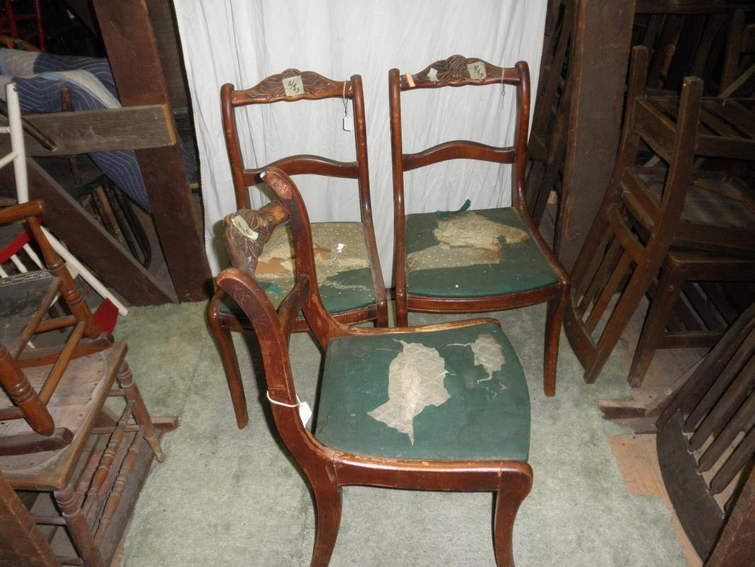 B2749  Vintage/Antique Fancy Set of 3 Mahogany Chairs