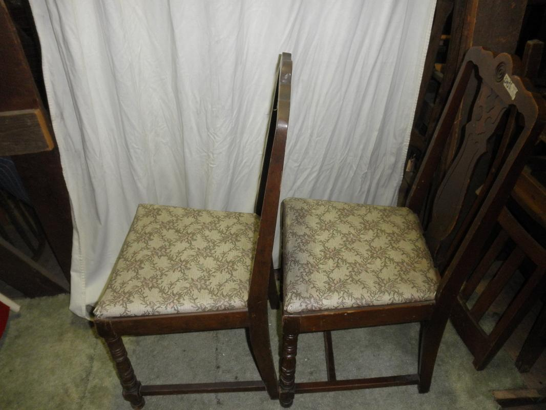 B3292  Vintage/Antique  Set of 2 Chairs with Upholstered Seats