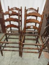 B3383  Vintage/Antique  Set of 4 Latter Back Chairs