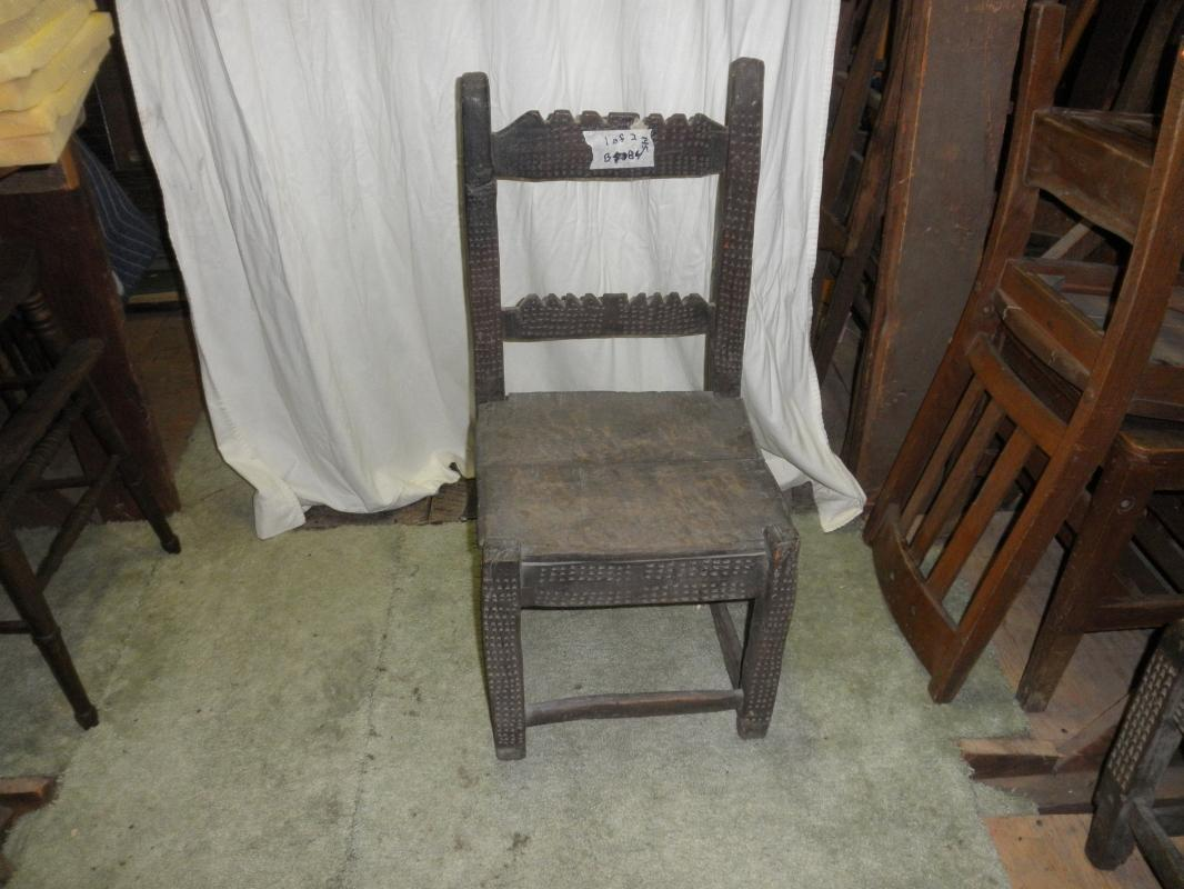 B4084   Antique  Primitive Highly Carved Chair
