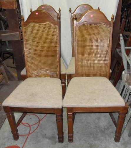 B4675  Vintage/Antique  Set of 4 High Back Chairs