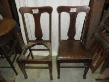 B5398  Vintage/Antique Set of (2) T Back Chairs Original
