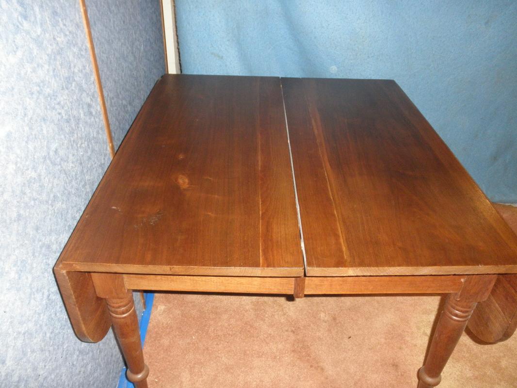 B2557 Antique Solid Walnut Drop Leaf Table
