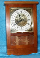 Wall Clock - Cherry Wood/Gold Letters THOMAS