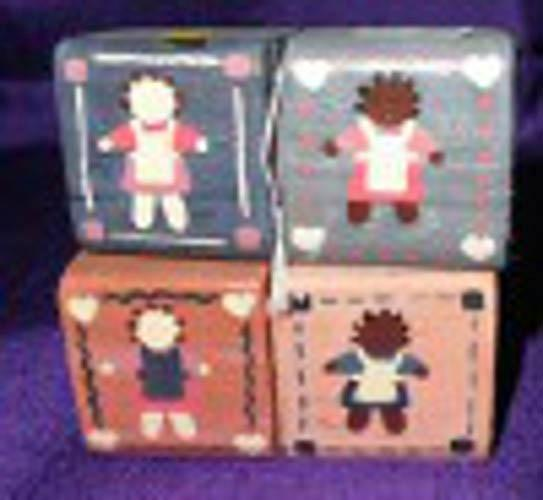 Wood Blocks-Painted with Dolls (2 pc set) B4559