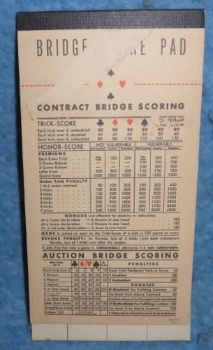 Bridge Score Pad