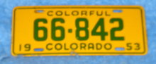 License Plate  - Colorado Yellow & Green