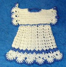 Potholder - Childs Blue & White Dress