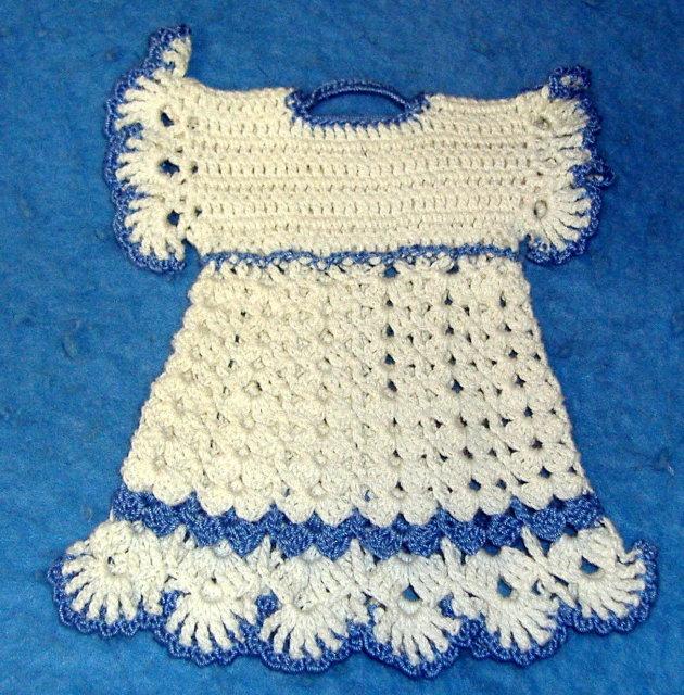 Potholder - Childs Blue & White Dress