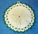 Potholder - Round Green & White