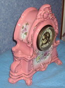 Clock - Pink Victorian w/Flowers