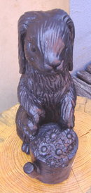 Lawn Ornament Black Rabbit Statue