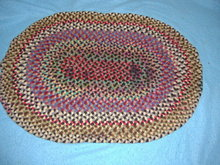 Antique Vintage Rug, Braided Oval