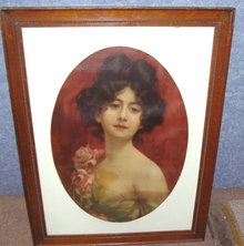 Vintage Antique Lady Picture Elegant B3705