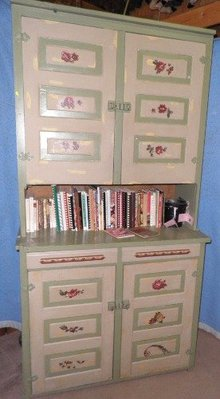 Antique Step Back Cupboard Painted