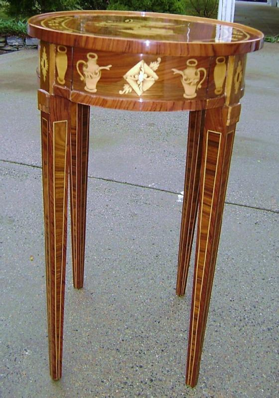 ADORABLE Marquetry Oval side Table Napoleon style