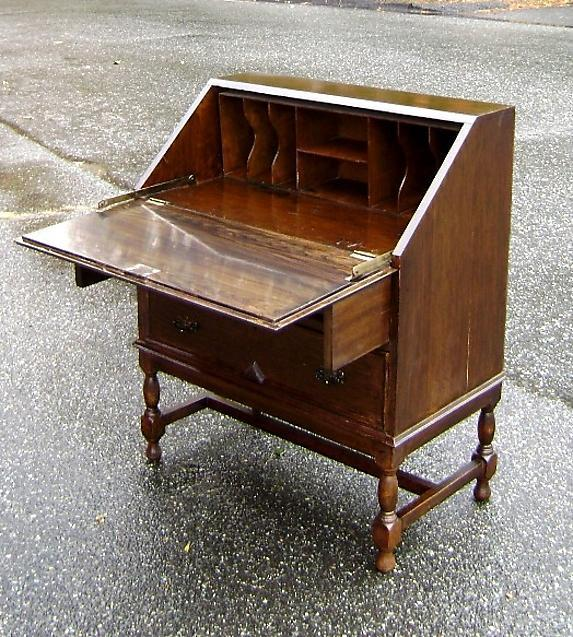Great 1890s English Drop Front Jacobean Oak Desk