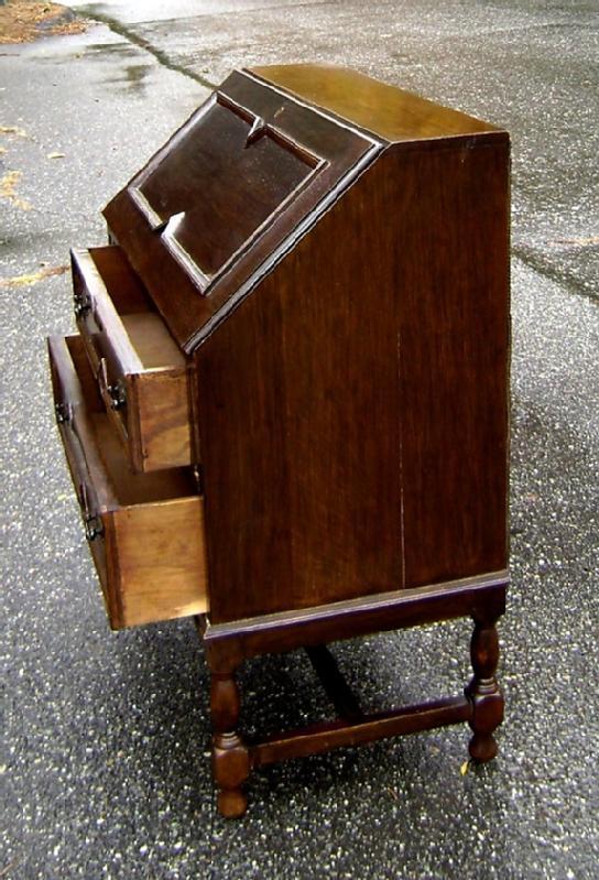 Great 1890s English Drop Front Jacobean Oak Desk