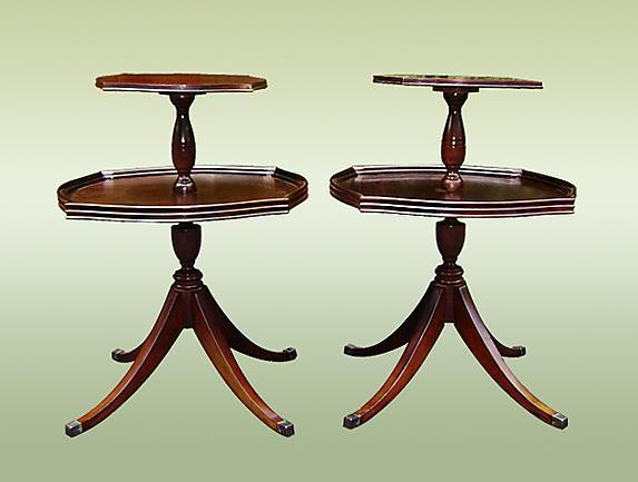 Antique English Two Tier Dumbwaiter Tables
