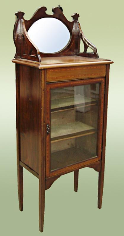 Edwardian 1890s carved Inlaid Cabinet