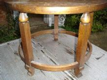 Unusual Round Solid dark English Oak Coffee Table